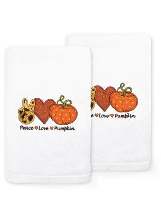 Peace-Love-Pumpkin Embroidered Towel