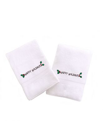 Happy Holiday with Ornament Embroidered Towel