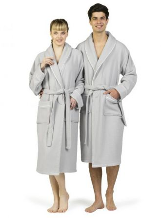 Waffle Terry Bathrobe With Satin Piped Trim